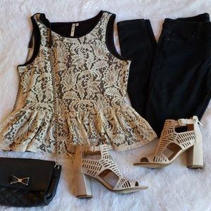 Cream & Black Lace Peplum Blouse
